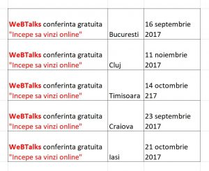 Program conferinta gratuita WeBTalks Incepe sa vinzi online